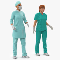 3d female rigged doctors modeled model