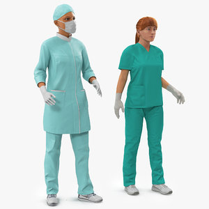 3d female rigged doctors modeled model