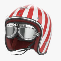 Motorcycles Helmet Ruby white-red & Goggles