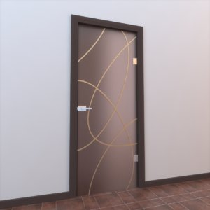 3d model of glass door
