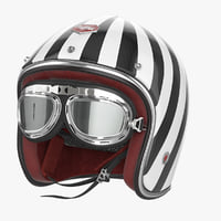 Motorcycles Helmet Ruby white-black & Goggles