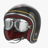 Motorcycles Helmet Ruby black with Goggles