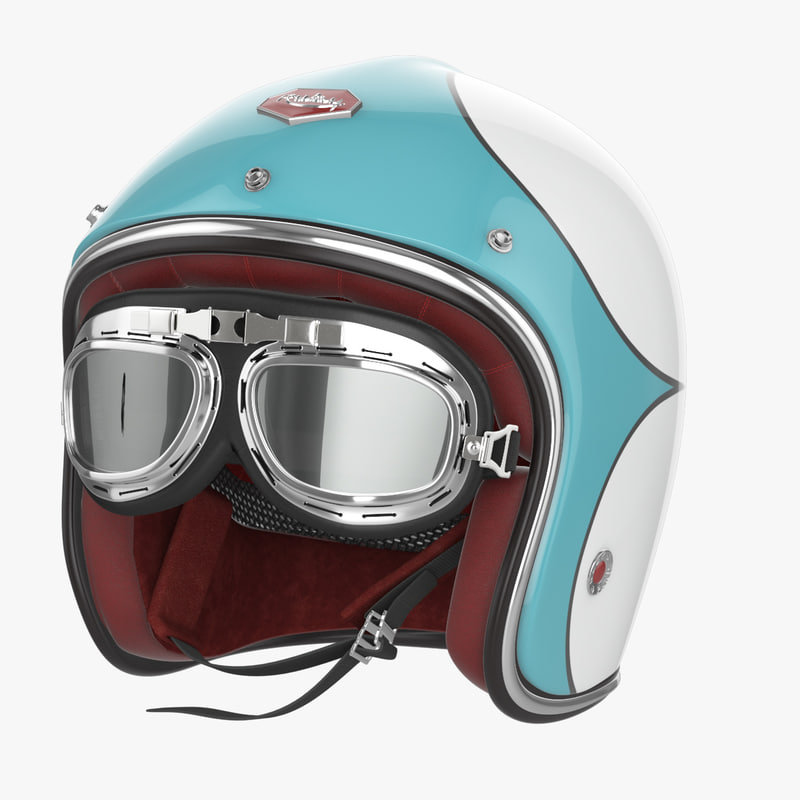3d model motorcycles helmet ruby goggles