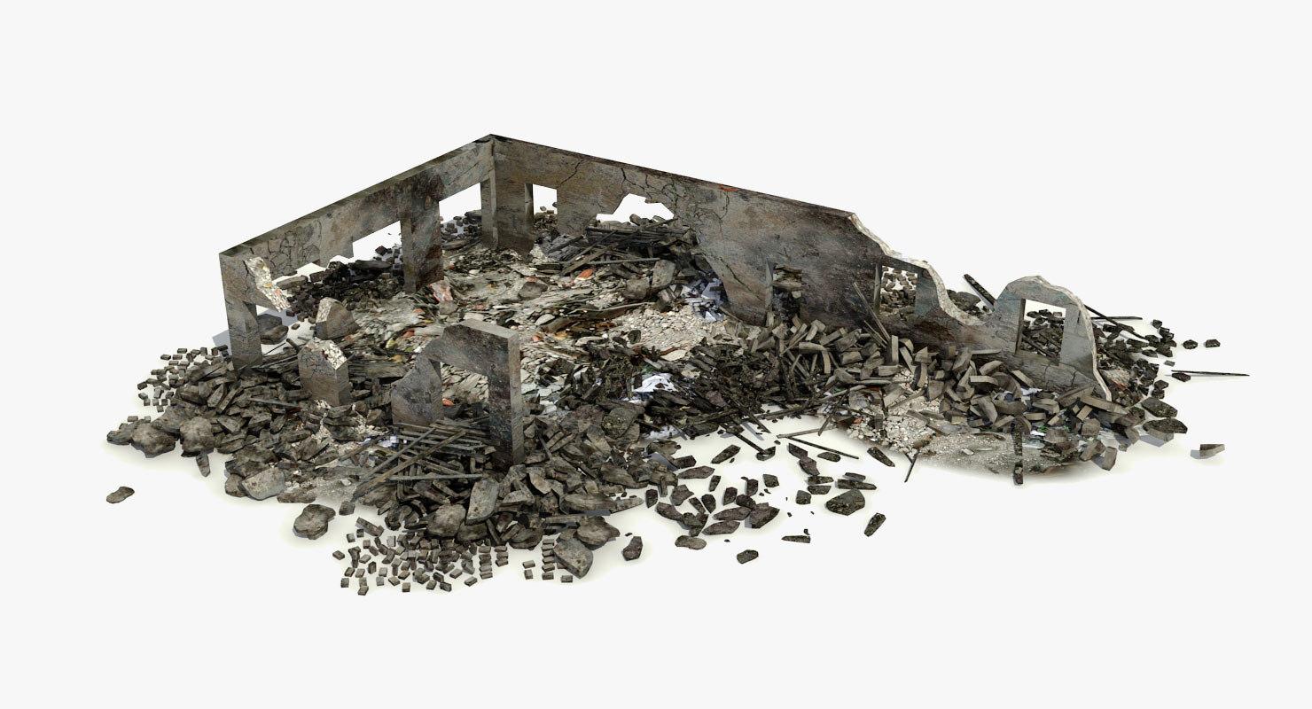 3d destroyed ruined building debris
