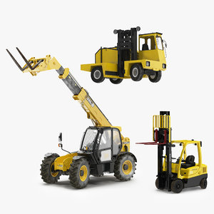 rigged forklifts modeled truck max