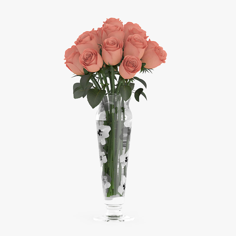 3d model bouquet orange roses glass vase