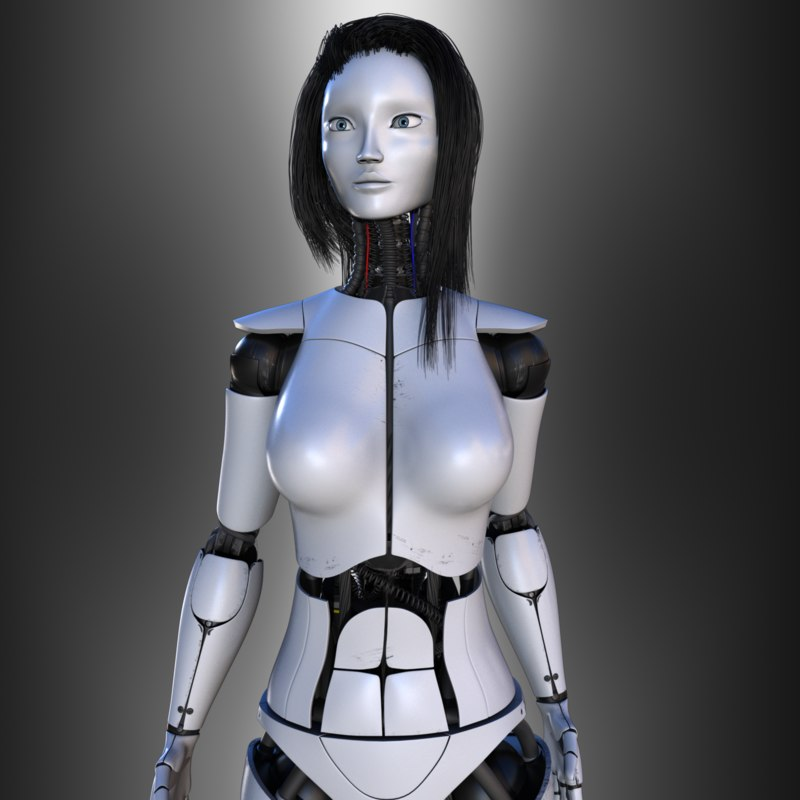 female robot v2 rigged 3d ma