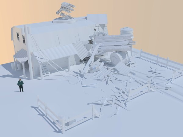 crash landing scene 3d 3ds