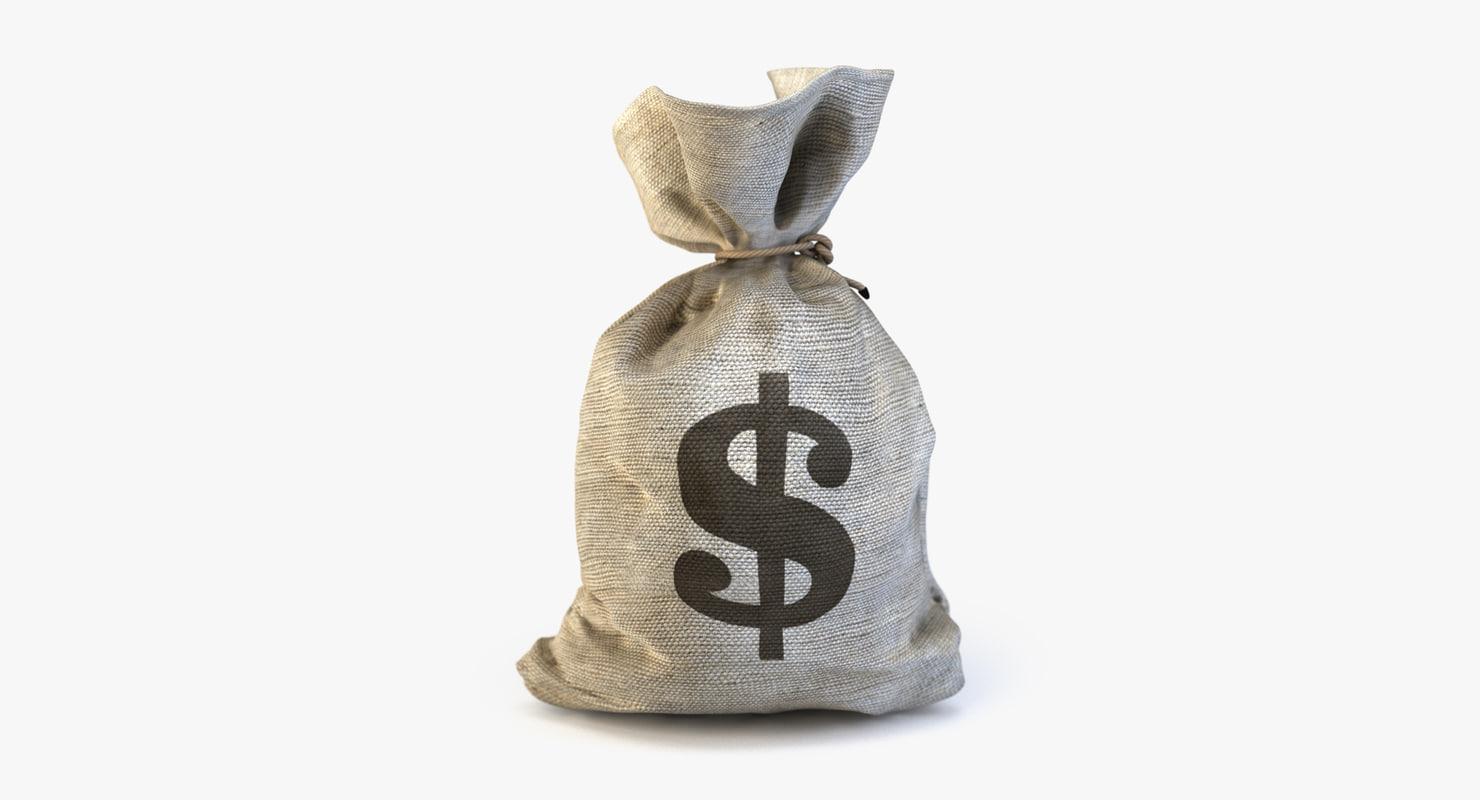 money bag dollar 3d max
