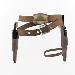 3d model holster cowboy guns