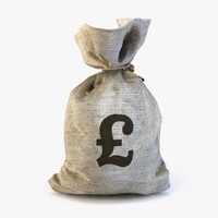 3d model of money bag pound