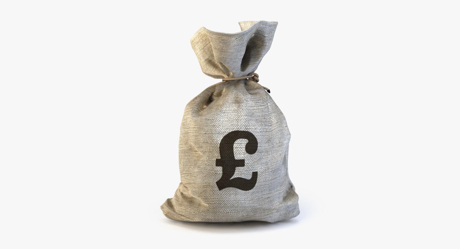 3d model of money bag pound