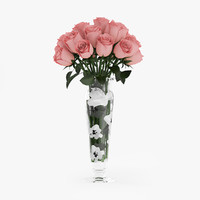 bouquet pink roses glass vase 3d model