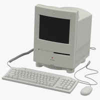 3d apple macintosh color classic model