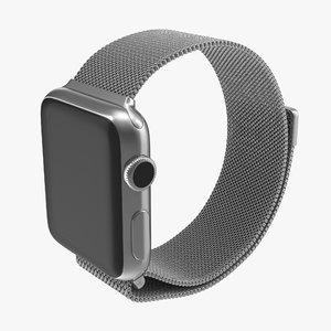 3d apple watch 38mm milanese model