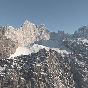 3d mountain range peak model