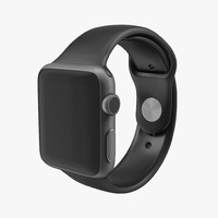 Apple Watch 38mm Fluoroelastomer Black Sport Band 3D Model