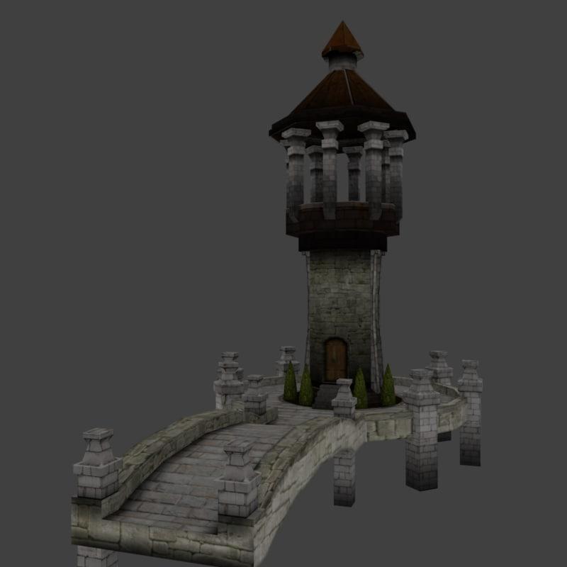 medieval bridge tower 3d model