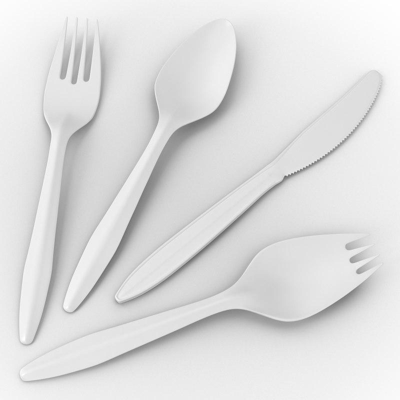 plastic cutlery set 3d model