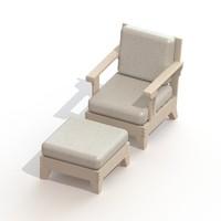 patio chair ottoman 3d model