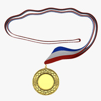 3d award medal 4 gold model