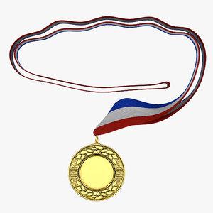 3d award medal 4 gold model
