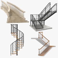 3d model stairs set build