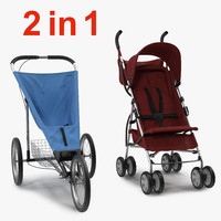 Baby Strollers 3D Models Collection