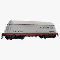milk tank car modeled 3d model