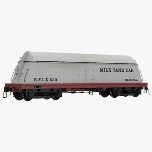 milk tank car modeled 3d model