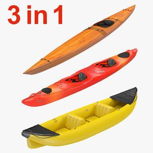 kayaks set realistic 3d model