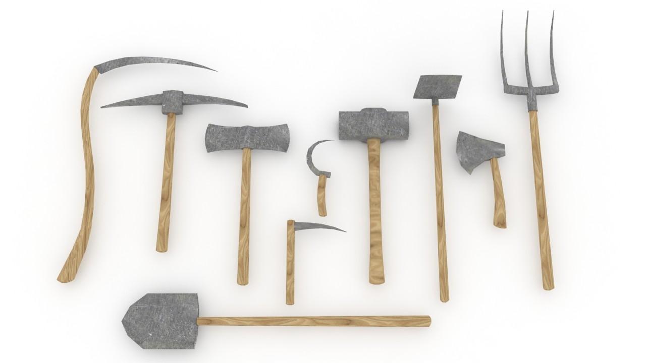 Medeival Farming Tools 3d Model