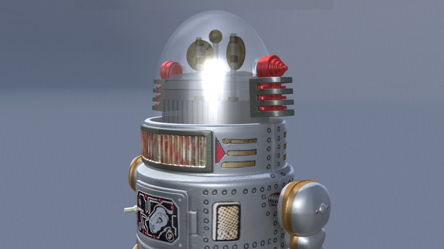 3d vintage robot forbidden planet model