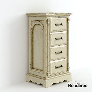 old victorian bedside cupboard 3d 3ds