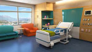 simple cartoon hospital room 3d ma