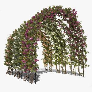 3d arch roses trellis