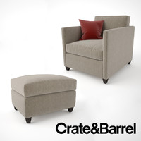 Crate and Barrel Dryden Chair and Ottoman