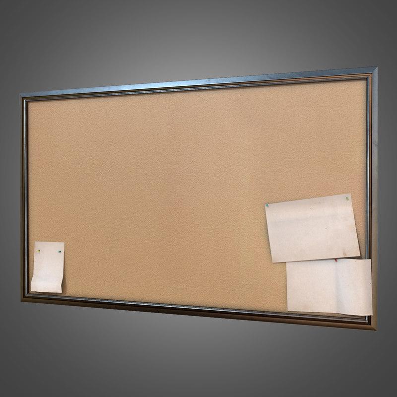 3d model wall office cork board