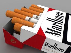 marlboro cigarette pack 3d model
