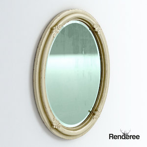 3d model old mirror battered
