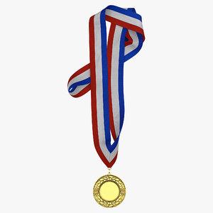 award medal 3 gold 3d c4d