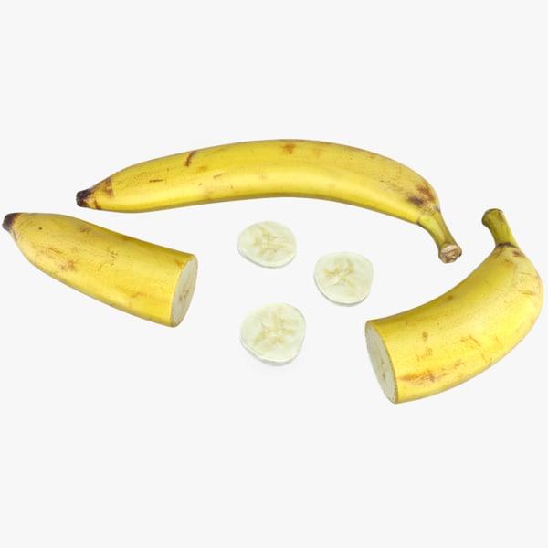 3d banana fruit food