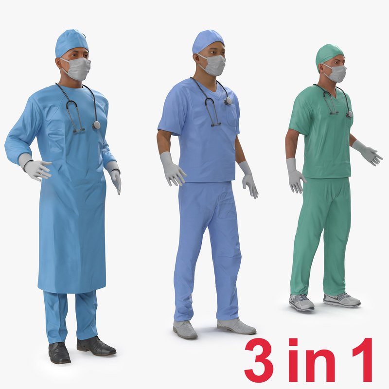 3ds max male rigged surgeons