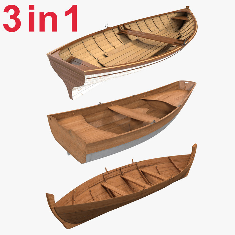 rowboats modeled 3ds