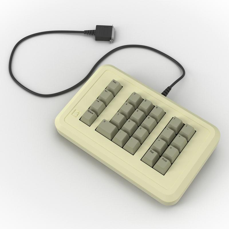 3d model of apple iie numeric keypad