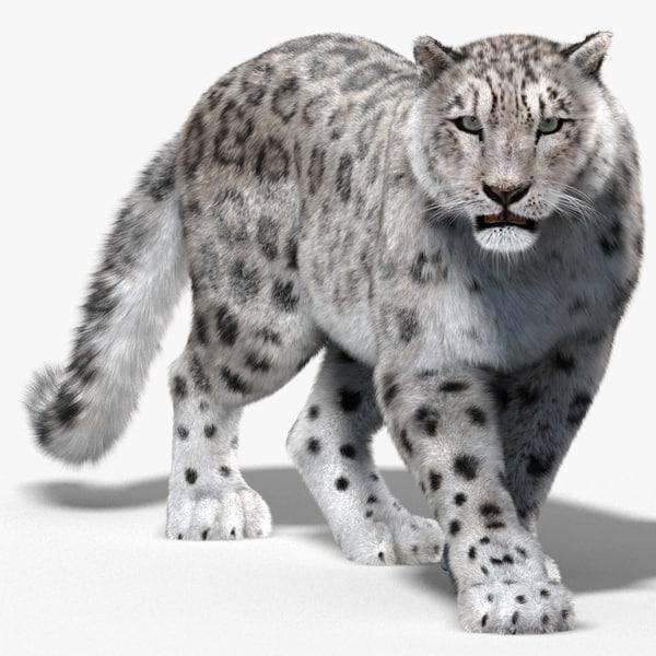snow leopard fur cat 3d 3ds