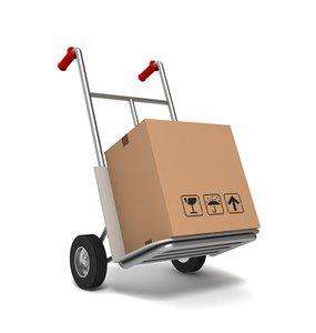 3ds max hand truck cardboard box