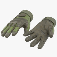 3d soldier gloves green modeled
