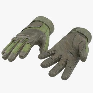 3d soldier gloves green modeled