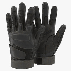 soldier gloves black modeled 3d model